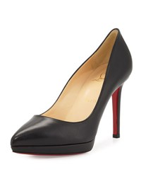 Christian Louboutin Pigalle Plato Leather Red Sole Pump Black