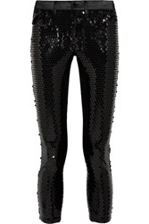 Junya Watanabe Sequined Stretch Satin Skinny Pants