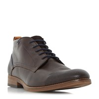Bertie Conga Perforated Casual Lace Up Boots Dark Brown