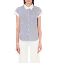 Izzue Striped Crepe Shirt Blue