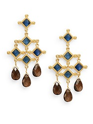 Stephanie Kantis Blue Quartz And Smoky Topaz Briolette Venetian Chandelier Earrings Gold