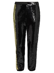 Sonia Rykiel Sequin Embellished Trousers Black Gold