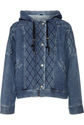 Sea Quilted Denim Hooded Jacket Blue
