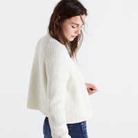 Madewell Crop Cardigan Sweater Antique Cream