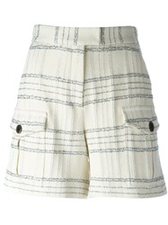 Msgm Checked Shorts White