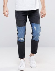 Asos Stretch Slim Ankle Grazer Jeans With Blue Panels And Rips In Black Black