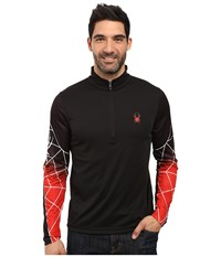 Spyder Webstrong Dry W.E.B. T Neck Top Black Black Red Men's Long Sleeve Pullover