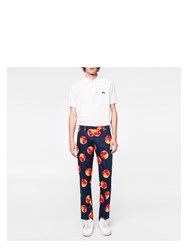 Paul Smith Men's Slim Fit Navy Stretch Cotton 'Peaches' Print Trousers Blue