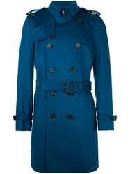 Burberry 'Kensington' Double Breasted Coat Blue