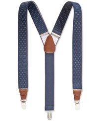 Club Room Men's Pin Dot Suspenders Only At Macy's Navy White