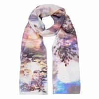 Louise Coleman Twilight Skinny Silk Scarf Pink Purple