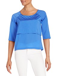 French Connection Solid Short Raglan Sleeves Top Empire Blue