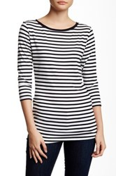 14Th And Union 3 4 Length Sleeve Boatneck Striped Tee Black