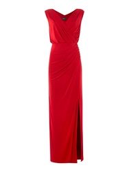 Biba Wrap Over Button Detail Maxi Dress Red