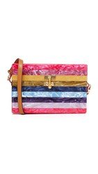 Edie Parker Small Trunk Striped Purse Fuchsia Multi