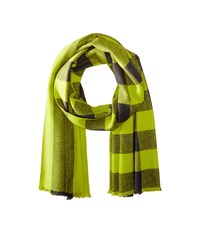 Marc By Marc Jacobs Boiled Wool Plaid Scarf Citrine Green