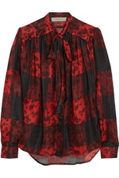 Preen Line Coley Printed Voile Pussy Bow Blouse Red