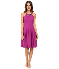Adrianna Papell Seamed Dropped Fit And Flare Dress Deep Berry Women's Dress Burgundy