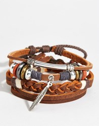 Asos Leather Bracelet Pack With Feather Brown