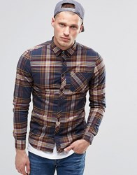 Element Buffalo Check Flannel Shirt Eclipse Navy Buttondown Navy