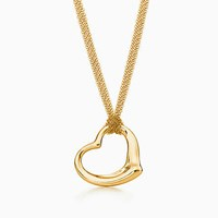 Tiffany And Co. Elsa Peretti Open Heart Pendant In 18K Gold. 18K Yellow Gold