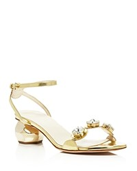 Frances Valentine Beatri Embellished Jeweled Low Heel Sandals Gold