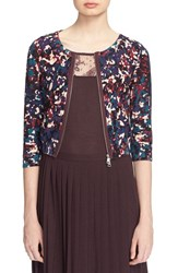 Tracy Reese Women's Front Zip Print Cotton Cardigan Speckle Print