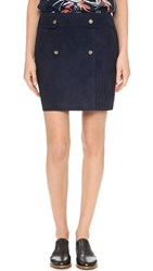 Maiyet Suede Wrap Miniskirt Navy