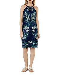 Karen Millen Tropical Embroidered Lace Dress Blue Multi
