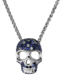 Effy Collection Balissima By Effy Sapphire Skull Pendant Necklace In Sterling Silver 1 1 5 Ct. T.W. Blue