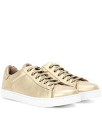 Gianvito Rossi Low Top Metallic Leather Sneakers Gold
