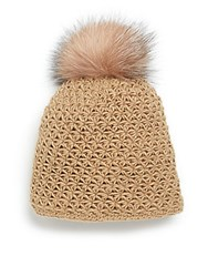Saks Fifth Avenue Fur Pom Pom Cap Camel