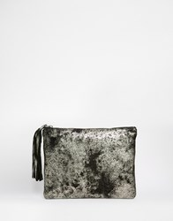 Becksondergaard Becksondergaard Metallic Detail Leather Clutch Bag Blackmetallic
