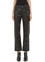 Christopher Kane Stapled Leather Pants Black
