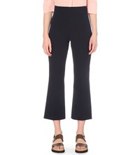 Whistles Selby Cropped Flared Twill Trousers Navy