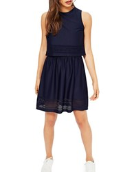 Miss Selfridge Laser Cut Double Layered Jersey Dress Navy