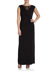 Twist Front Lace Inset Gown Black