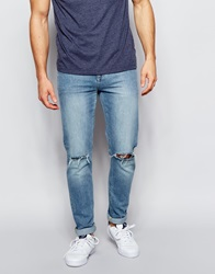 Asos Skinny Jeans With Knee Rips Blue