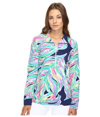 Lilly Pulitzer Skipper Popover Bright Navy Dont Leave Me Hanging Women's Long Sleeve Pullover Multi