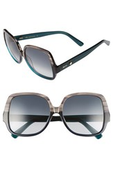 Women's Mcm 58Mm Oversize Square Sunglasses Striped Grey Petrol