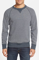 Billy Reid Reversible Crewneck Sweatshirt Blue Light Heather Grey