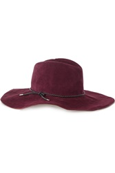 Emilio Pucci Braided Leather Trimmed Suede Fedora