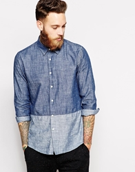 Asos Shirt In Long Sleeve With Contrast Polka Dot Panel Blue