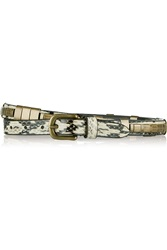 Isabel Marant Brass Embellished Snake Skinny Belt White