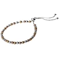Adele Marie Adjustable Textured Beaded Bracelet Rose Gold Multi