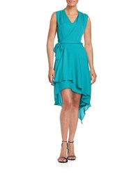 Kobi Halperin V Neck Sleeveless Silk Wrap Dress Blue