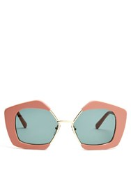 Marni Edge Hexagonal Frame Sunglasses Light Pink