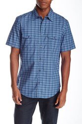 Calvin Klein Short Sleeve Mini Heather Check Regular Fit Shirt Blue