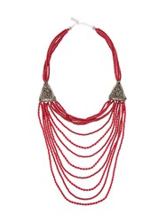 Night Market Long Beaded Necklace Red