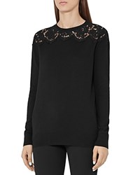 Reiss Emilie Lace Inset Sweater Black
